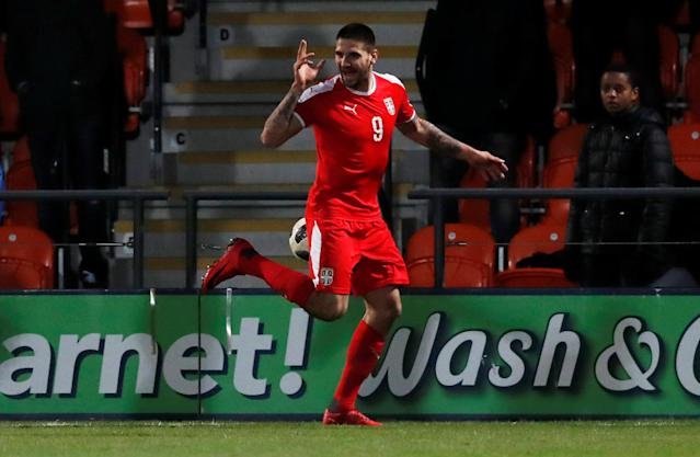 Soccer Football - International Friendly - Nigeria vs Serbia - The Hive Stadium, London, Britain - March 27, 2018 Serbia's Aleksandar Mitrovic celebrates scoring their first goal Action Images via Reuters/Peter Cziborra