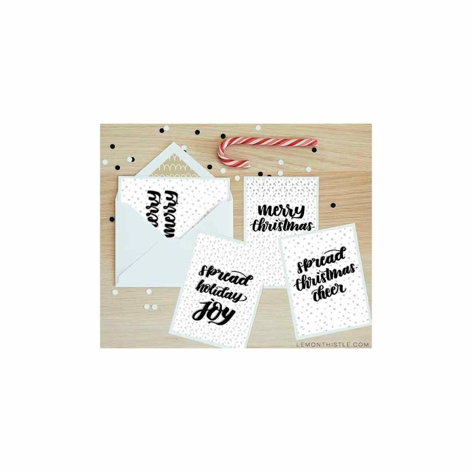 """<p>You don't have to have elegant handwriting to pull off these DIY cards—simply download a free PDF and trace or decoupage onto seasonal paper. </p><p><em>Get the tutorial at <a href=""""https://www.lemonthistle.com/modern-handlettered-holiday-cards-4-free-printables/"""" rel=""""nofollow noopener"""" target=""""_blank"""" data-ylk=""""slk:Lemon Thistle"""" class=""""link rapid-noclick-resp"""">Lemon Thistle</a>.</em> </p><p><a class=""""link rapid-noclick-resp"""" href=""""https://www.amazon.com/Pattern-Paper-Pack-Wonderland-Single-Sided/dp/B07KCQMYSG/?tag=syn-yahoo-20&ascsubtag=%5Bartid%7C10072.g.34351112%5Bsrc%7Cyahoo-us"""" rel=""""nofollow noopener"""" target=""""_blank"""" data-ylk=""""slk:SHOP SCRAPBOOK PAPER"""">SHOP SCRAPBOOK PAPER</a></p>"""