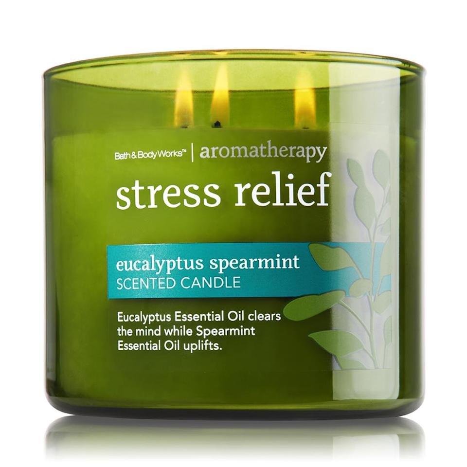 """<p>Give the gift of tranquility and stress relief with this eucalyptus spearmint candle. </p><p>Buy it <a rel=""""nofollow noopener"""" href=""""http://www.bathandbodyworks.com/product/?productId=31340926"""" target=""""_blank"""" data-ylk=""""slk:here"""" class=""""link rapid-noclick-resp"""">here</a> for $13 (originally $23).</p>"""