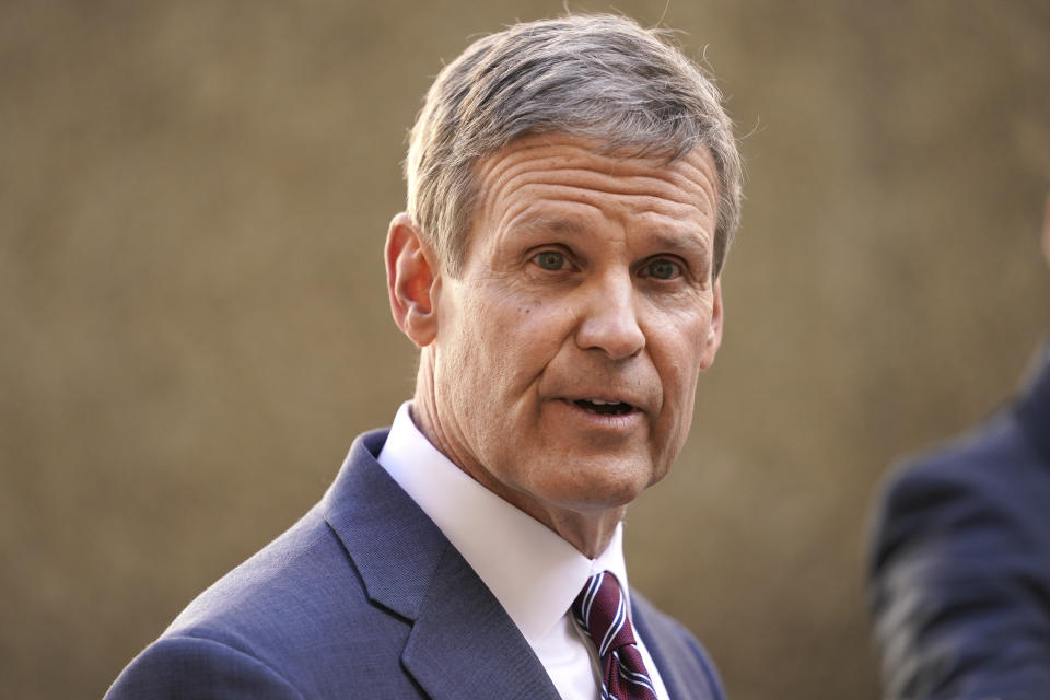 Tennessee Gov. Bill Lee speaks to reporters Tuesday, Jan. 19, 2021, in Nashville, Tenn. (AP Photo/Mark Humphrey)