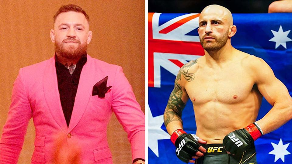 Alexander Volkanovski (pictured right) hit back at Conor McGregor (pictured left) after he tweeted about the UFC featherweight champion. (Getty Images)