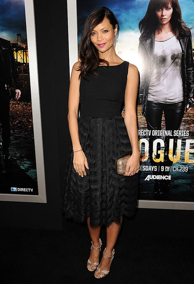"Thandie Newton has been a fan of vintage clothing for years, so it didn't come as a surprise to see her in this Gathering Goddess getup at the premiere of her new TV series, ""Rogue,"" on Tuesday in Hollywood. Her $1,000 Jimmy Choo sandals, however, were fresh outta the box. (3/26/2013)"