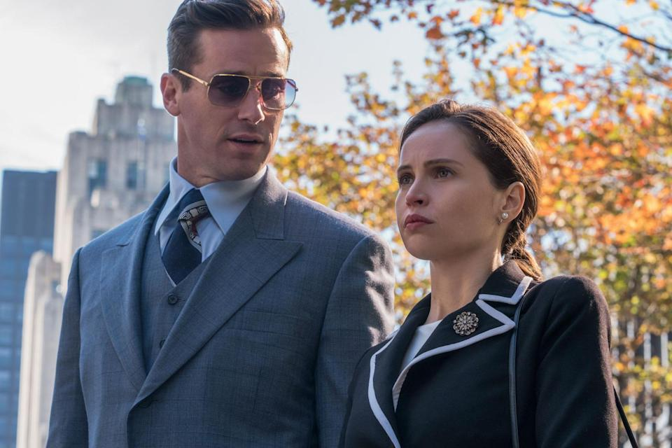 Armie Hammer as Marty Ginsburg and Felicity Jones as Ruth Bader Ginsburg