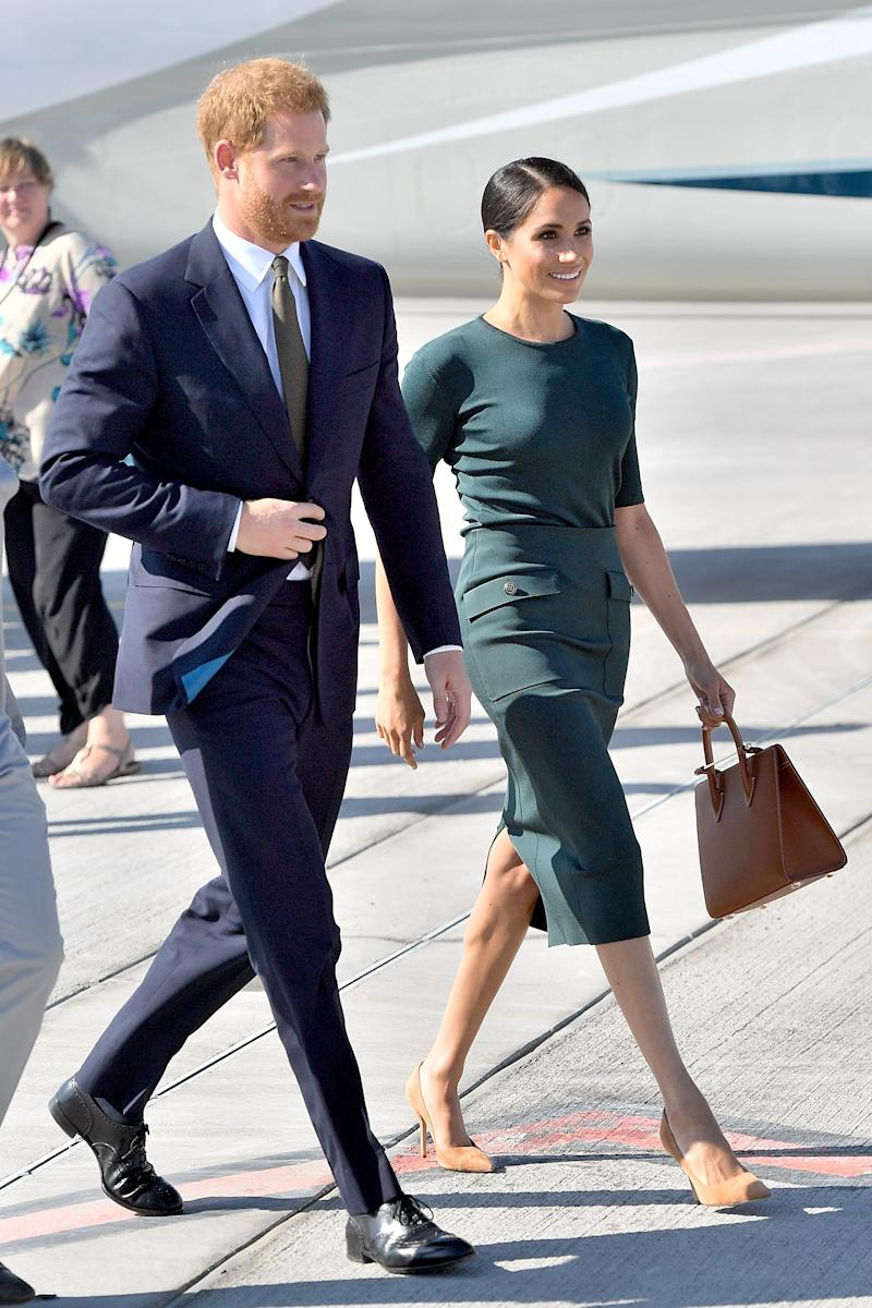 Harry, Duke of Sussex and Meghan, Duchess of Sussex arrive at Dublin Airport for their visit to Ireland on July 10, 2018.