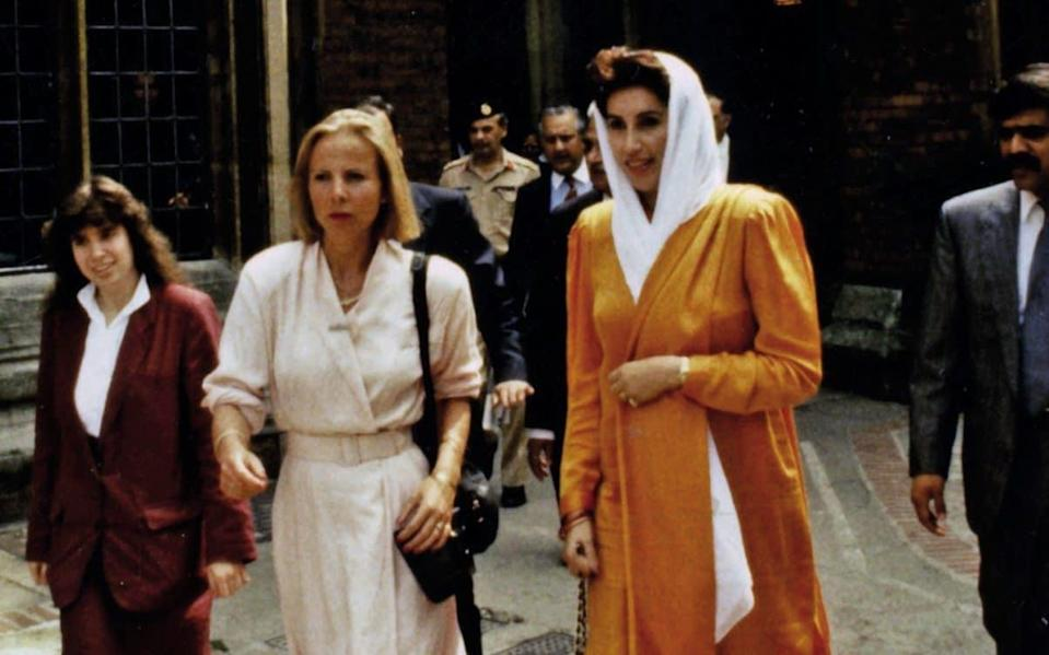 Benazir Bhutto and Victoria Schofield, 10th July 1989 ,leaving the Oxford Union Debating Chamber