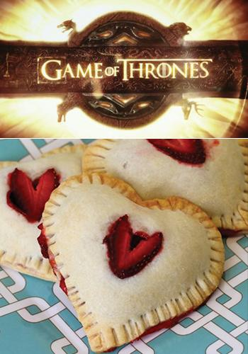 """<div class=""""caption-credit""""> Photo by: Caitlin Morton</div><div class=""""caption-title""""></div><b><i>Game of Thrones</i>   Strawberry Heart Hand-Pies</b> <br> Emmy nominee Emilia Clarke has had a lot of memorable scenes as Daenerys Targaryen on <i>Game of Thrones</i>, but one particular moment that sticks out is when she eats a raw horse heart as part of a Dothraki pregnancy ritual. Most people don't have the stomach for that particular cuisine, so try these heart-shaped strawberry pies for a much more family-friendly option. They are cooked with pre-made pie crust and filling, so you hardly have to put in any work for the totally sweet final product. <br> <a rel=""""nofollow"""" href=""""http://www.babble.com/best-recipes/heart-shaped-food-day-2-strawberry-heart-hand-pies/"""" target=""""_blank""""><i>Make strawberry heart hand-pies</i></a>"""