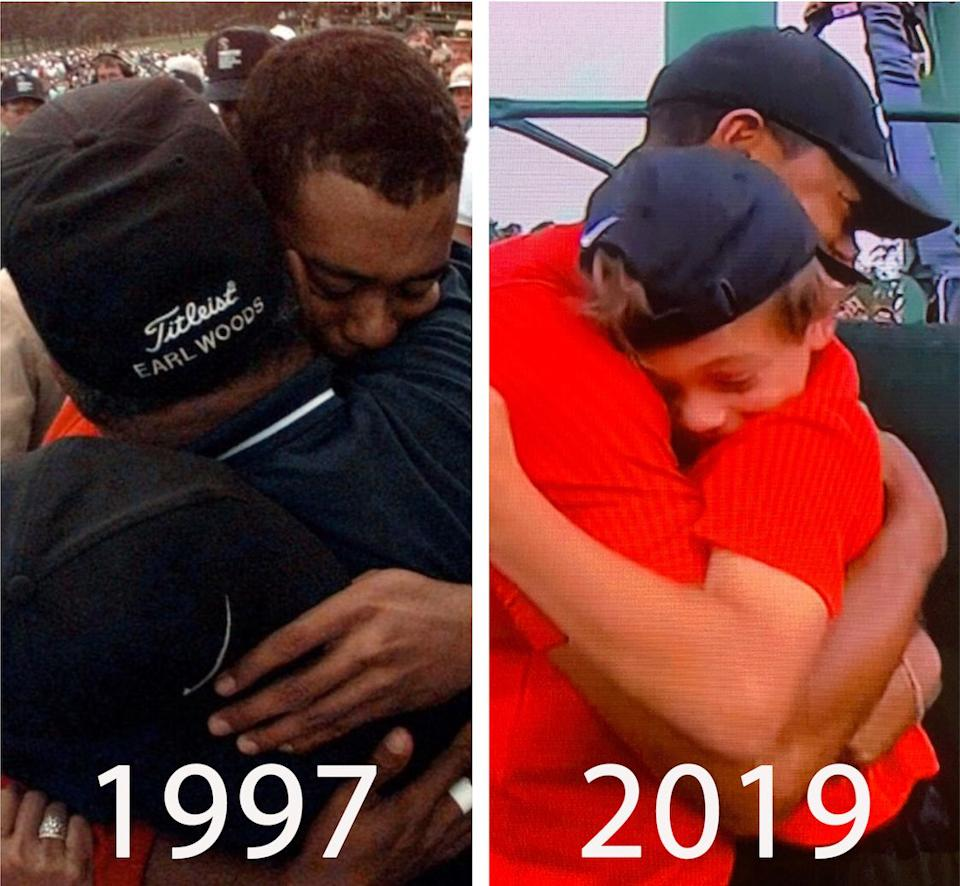 On the left, Tiger Woods hugs his father after winning the Masters in 1997. On the right, Tiger Woods hugs his son, Charlie, after winning the Masters in 2019. (CBS)