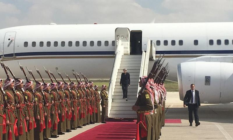 Theresa May arrives in Jordan