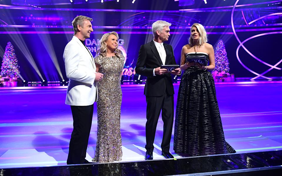 Jayne Torvill, Christopher Dean, Phillip Schofield and Holly Willoughby attending the launch of Dancing On Ice 2020, held at Bovingdon Airfield, Hertfordshire. (Photo by Ian West/PA Images via Getty Images)