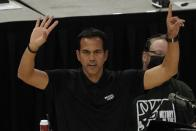 Miami Heat head coach Erik Spoelstra reacts during the first half of Game 1 of their NBA basketball first-round playoff series against the Milwaukee Bucks Saturday, May 22, 2021, in Milwaukee. (AP Photo/Morry Gash)