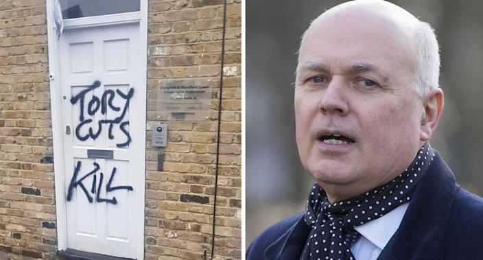 Iain Duncan Smith posted a picture of anti-Tory graffiti on social media. (Twitter/PA Images)