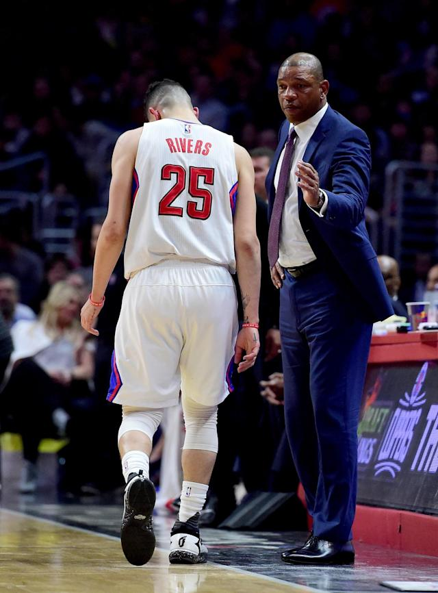 """<a class=""""link rapid-noclick-resp"""" href=""""/nba/teams/lac/"""" data-ylk=""""slk:Los Angeles Clippers"""">Los Angeles Clippers</a> coach Doc Rivers reacts as <a class=""""link rapid-noclick-resp"""" href=""""/nba/players/5016/"""" data-ylk=""""slk:Austin Rivers"""">Austin Rivers</a> leaves the court after suffering a hamstring injury during the first half against the Wizards on March 29, 2017. (Harry How/Getty Images)"""