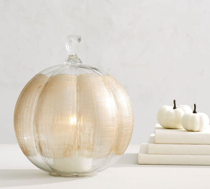 <p>How pretty is this <span>Linen Glass Pumpkin Candle Holder</span> ($50)?</p>