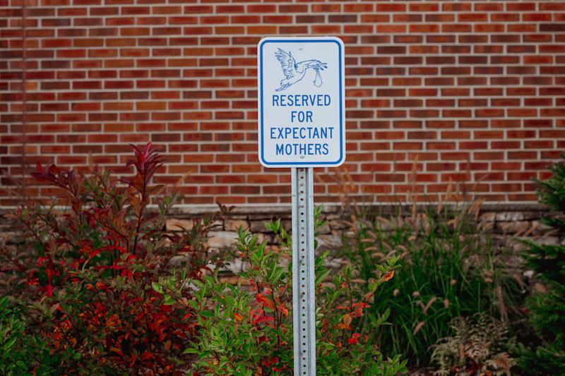Parking spots are still reserved for expectant moms at Blue Ridge Hospital, but labor-and-delivery services are no longer available. (Mike Belleme for HuffPost)