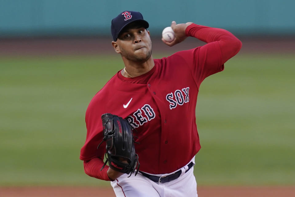 Boston Red Sox starting pitcher Eduardo Rodriguez delivers to a New York Yankees batter the first inning of a baseball game at Fenway Park, Friday, July 23, 2021, in Boston. (AP Photo/Elise Amendola)