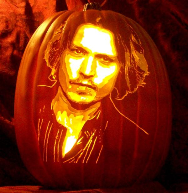 """<div class=""""caption-credit""""> Photo by: The Pumpkin Geek</div><div class=""""caption-title""""></div><b>Johnny Depp</b> <br> Seeing Johnny in pumpkin form makes me think of him as Ichabod Crane in <i>Sleepy Hollow</i>. Headless horseman nightmares in 3, 2, 1... <br> <br> <b><i><a rel=""""nofollow"""" href=""""http://www.babble.com/home/25-awesome-no-carve-pumpkins/?cmp=ELP