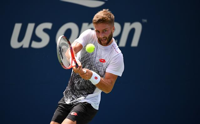 Liam Broady of Great Britain in action during his qualifying match of the US Open on August 22, 2018 in New York City, United States. (Photo by TPN/Getty Images)