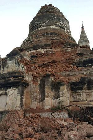 A damaged pagoda is seen after an earthquake in Bagan, Myanmar August 24, 2016. REUTERS/Stringer