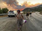 A woman leaves with her animals from an advancing fire that rages Cokertme village, near Bodrum, Turkey, Monday, Aug. 2, 2021. For the sixth straight day, Turkish firefighters battled to control the blazes that are tearing through forests near Turkey's beach destinations. Fed by strong winds and scorching temperatures, the fires that began Wednesday have left eight people dead. Residents and tourists have fled vacation resorts in flotillas of small boats or convoys of cars and trucks. (AP Photo/Mehmet Guzel)