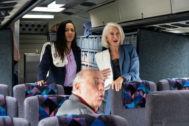 Sarah Cooper and Helen Mirren on a bus