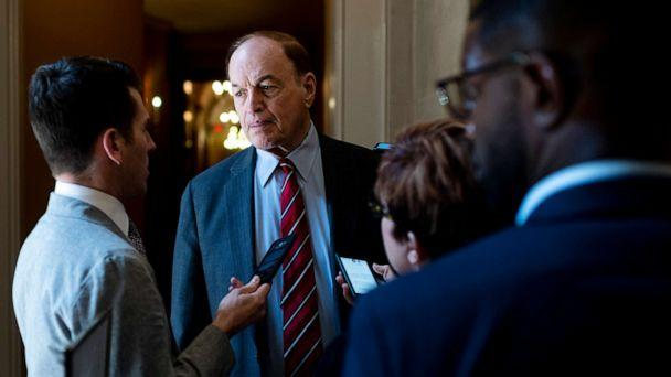 PHOTO: Sen. Richard Shelby, R-Ala., announces there is a deal on the Coronavirus supplemental funding bill as he emerges from a meeting in the Strom Thurmond Room in the Capitol, March 4, 2020. (Bill Clark/CQ Roll Call via Newscom)