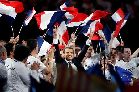 Emmanuel Macron, head of the political movement En Marche !, or Onwards !, and candidate for the 2017 French presidential election, attends a campaign political rally at the AccorHotels Arena in Paris