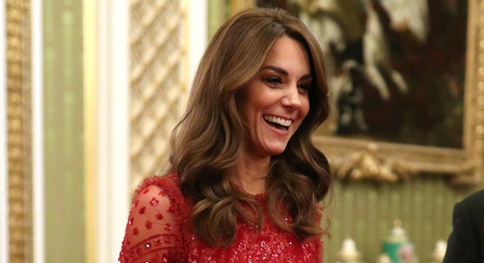 The Duchess of Cambridge wore a red sequin dress for a reception at Buckingham Palace to mark the UK-Africa Investment Summit. [Photo: PA]
