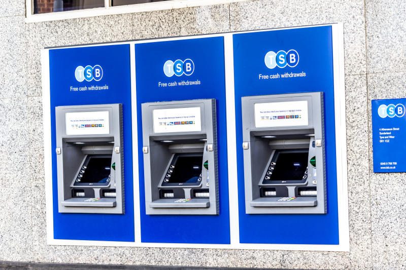 Sunderland UK 9th October 2019 Close up of three TSB cash machines or ATMs in a row.