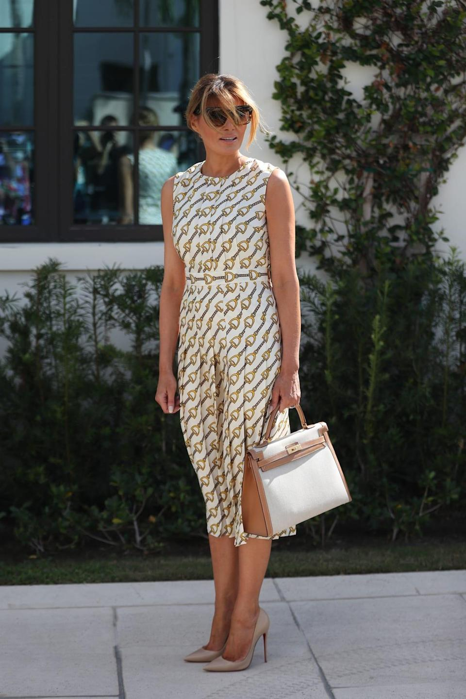 """<div class=""""inline-image__caption""""><p>Melania leaves after casting her vote at the Morton and Barbara Mandel Recreation Center polling place on Nov. 3, 2020 in Palm Beach, Florida.</p></div> <div class=""""inline-image__credit"""">Photo by Joe Raedle/Getty Images</div>"""