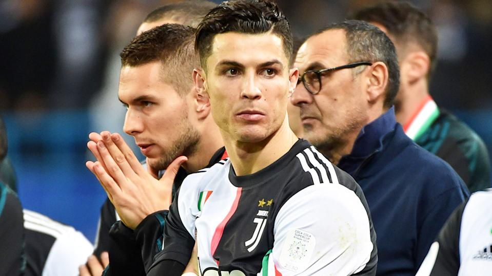 Cristiano Ronaldo, pictured here after Juventus' loss in the Italian Super Cup.