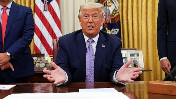 PHOTO: President Donald Trump holds a press conference in the Oval Office of the White House, Aug.13, 2020.  (Kevin Lamarque/Reuters)