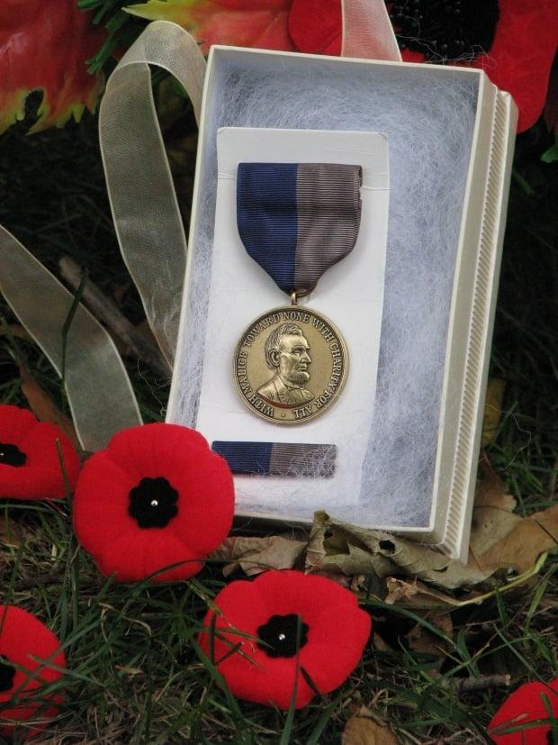 This Civil War medal for Stevens was presented to Canadian journalist Nerene Virgin, whose great-grandfather was also a veteran in that war.