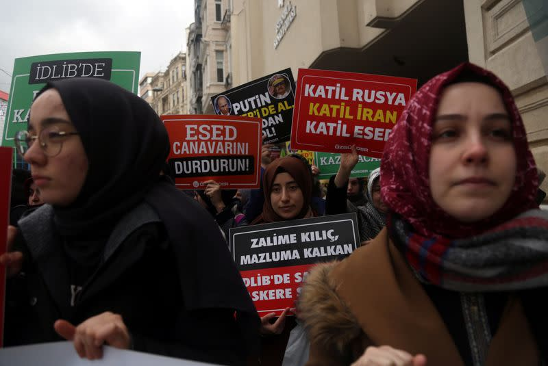 Protest against killing of Turkish soldiers in Syria's Idlib region, in Istanbul