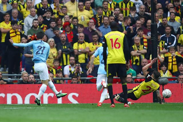 David Silva of Manchester City scores his team's first goal during the FA Cup Final match between Manchester City and Watford.