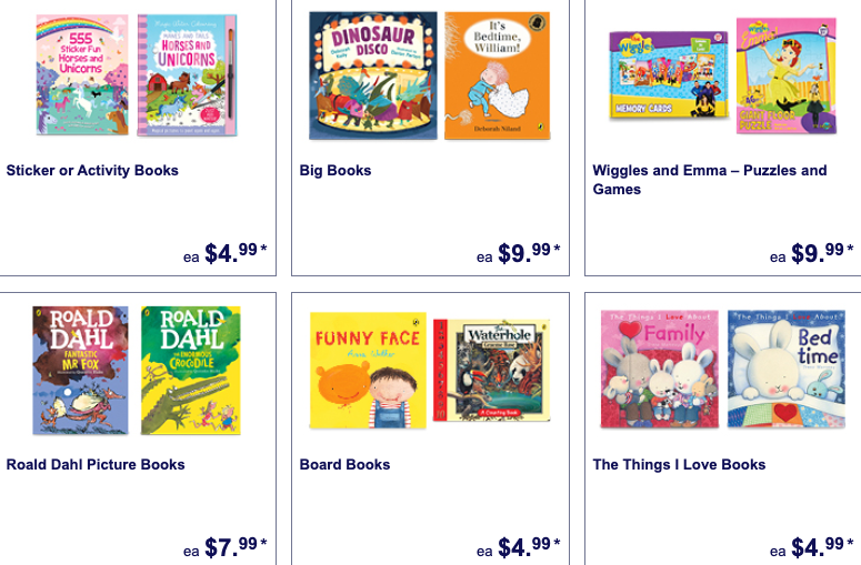 Children's books selling as Special Buys at Aldi.