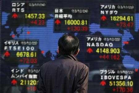 A pedestrian looks at an electronic board displaying various countries' stock market indices outside a brokerage in Tokyo December 24, 2013. REUTERS/Yuya Shino