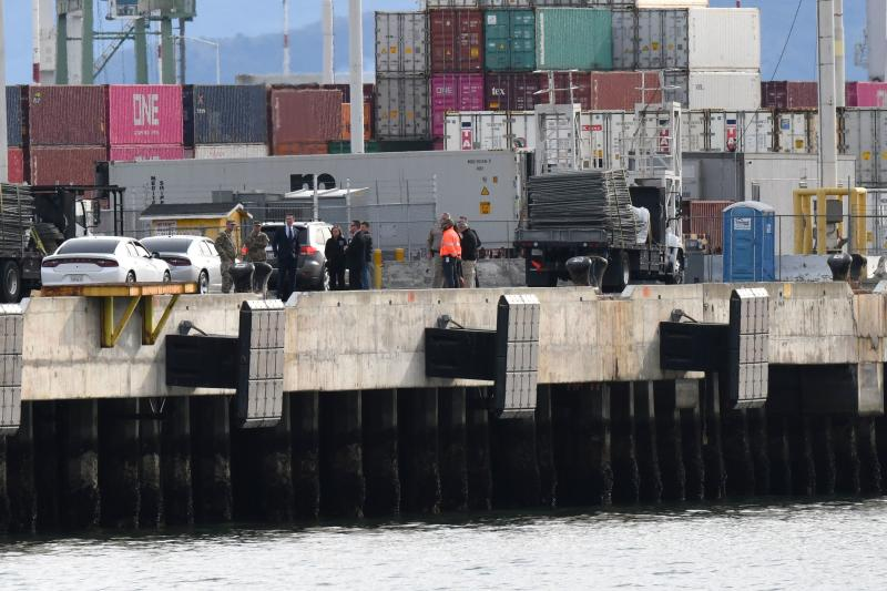 Governor Gavin Newsom inspects the location at the Port of Oakland, where the Grand Princess cruise ship carrying passengers who have tested positive for coronavirus is expected to dock, in Oakland, California, U.S. March 8, 2020.REUTERS/Kate Munsch