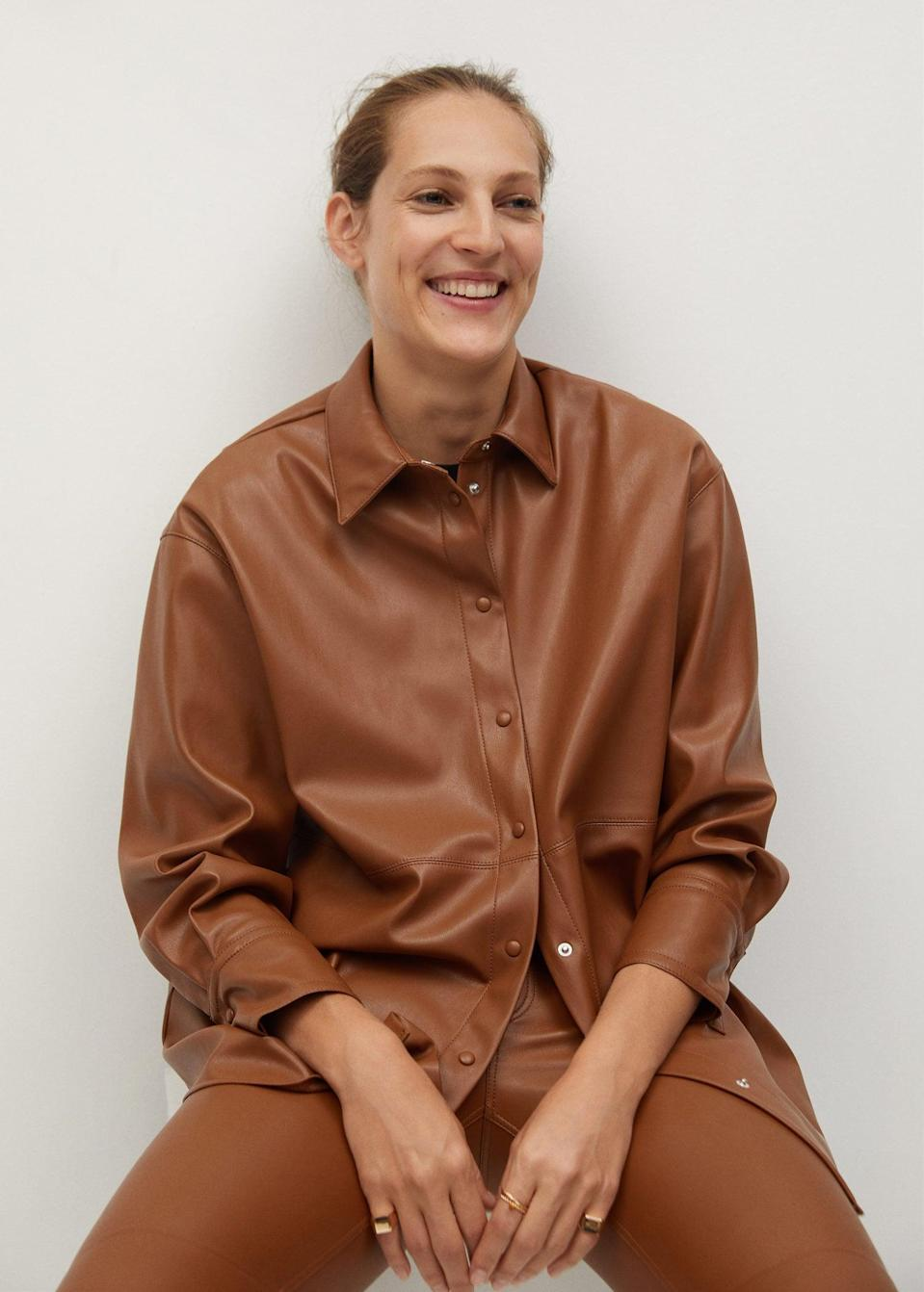 <p>Go bold and pair this <span>Faux-leather shirt</span> ($79) with matching pants.</p>