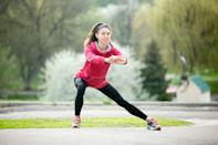 """<p><strong>Targets: </strong>The <a rel=""""nofollow noopener"""" href=""""https://www.prevention.com/fitness/fitness-tips/g23121158/stretches-for-groin-pain/"""" target=""""_blank"""" data-ylk=""""slk:groin"""" class=""""link rapid-noclick-resp"""">groin</a> for a stretch and <a rel=""""nofollow noopener"""" href=""""https://www.prevention.com/fitness/g20457906/12-yoga-poses-to-open-your-hips/"""" target=""""_blank"""" data-ylk=""""slk:opens up the hips"""" class=""""link rapid-noclick-resp"""">opens up the hips</a>, while activating the hamstrings, glutes, and quads</p><p><strong>How to: </strong>Stand with your feet hip-width apart. Step your right foot out to the side. Keeping chest up, push your left hip down and straight back, hitting a 90-degree bend in the left knee. Make sure your toes and knee point forward. Step back together and repeat on the left side. Continue alternating.</p>"""