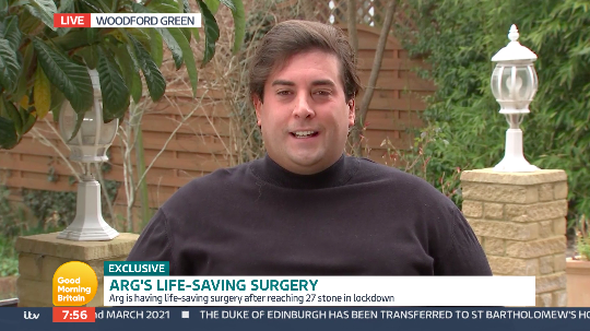 James Argent says he has been warned coronavirus could be fatal at his current weight. (ITV)