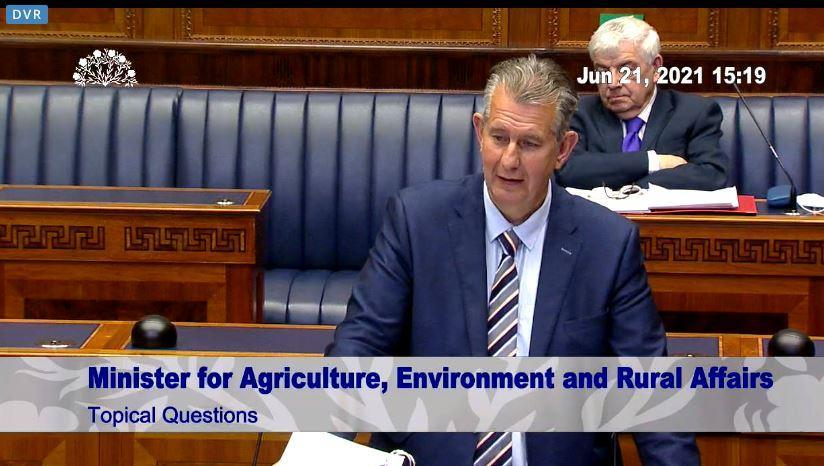 Stormont Agriculture Minister Edwin Poots answers questions in the Assembly (NI Assembly/PA)