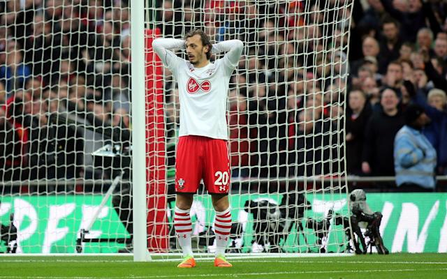 <span>Mannolo Gabbiadini had a goal wrongly disallowed in the EFL Cup final</span> <span>Credit: Rex Features </span>