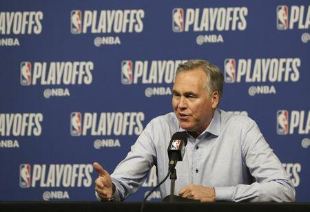 May 10, 2019; Houston, TX, USA; Houston Rockets head coach Mike D'Antoni talks to the media before playing against the Golden State Warriors before game six of the second round of the 2019 NBA Playoffs at Toyota Center. Mandatory Credit: Thomas B. Shea-USA TODAY Sports