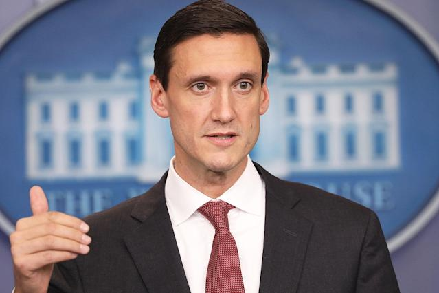 The White House did not give a reason for Bossert's departure.