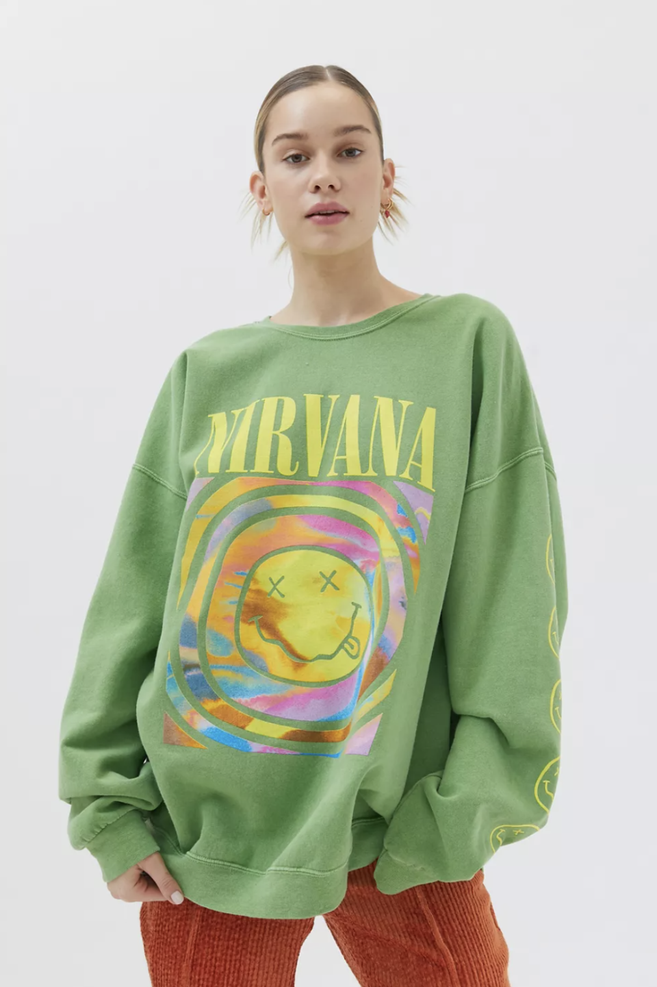 Nirvana Smile Overdyed Sweatshirt in Green (Photo via Urban Outfitters)
