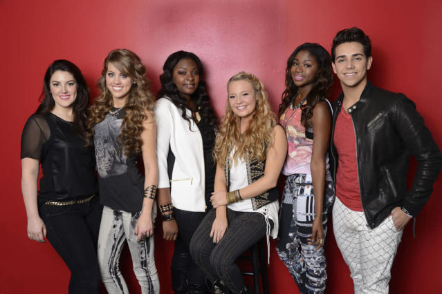 "Kree Harrison, Angie Miller, Candice Glover, Janelle Arthur, Amber Holcomb and Lazaro Arbos are the ""American Idol"" Top 6."