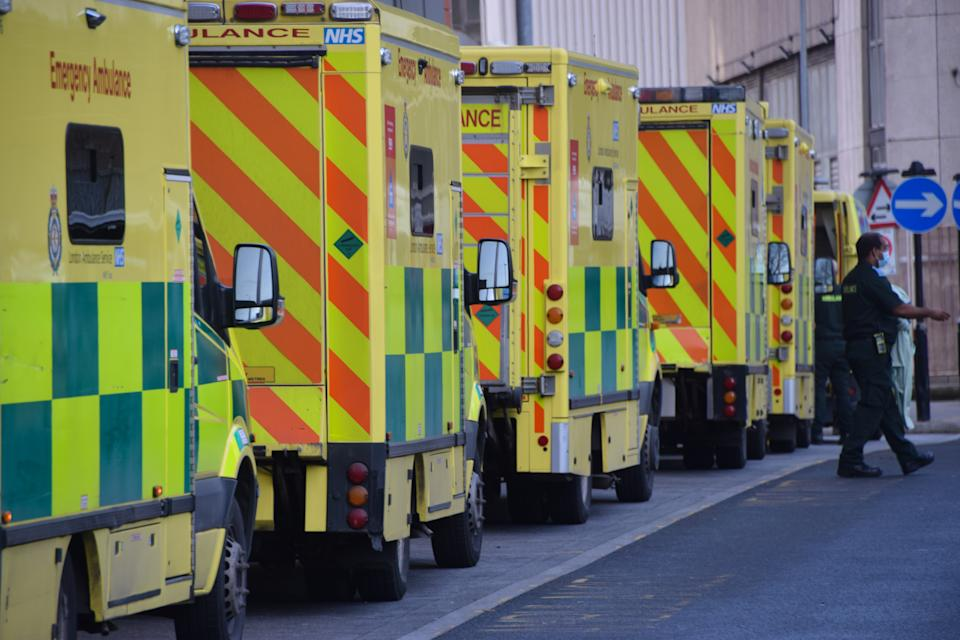 Ambulances in a queue outside the Royal London Hospital. The UK remains under the lockdown as the government battles to keep the coronavirus pandemic under control. (Photo by Vuk Valcic / SOPA Images/Sipa USA)