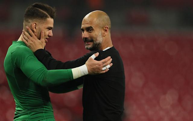 "Ederson, the Manchester City goalkeeper, has revealed his determination to score before the end of the season and hopes manager Pep Guardiola will entrust him to take a penalty or free-kick. The Brazilian has won widespread admirers after an outstanding debut season in English football following his £35 million move from Benfica last summer, not least for the range and quality of his passing and powerful left foot during City's march to the title. City supporters were heard chanting Ederson's name when Raheem Sterling won a penalty in Sunday's 5-0 victory over Swansea in the hope that the goalkeeper could take the spot-kick. Gabriel Jesus ended up missing the penalty before Bernardo Silva scored from the rebound. Ederson's idol growing up was Rogerio Ceni, the former Brazil No 1 who is the top scoring goalkeeper of all time with 131 goals in a 25-year career with Sao Paulo, and the City goalkeeper is hopeful of getting on the scoresheet himself. ""I heard them [the fans] chanting my name, asking me to take the penalty, but Gabriel went there,"" Ederson said. ""Unfortunately he missed it and Bernardo, fortunately, scored, but if the manager had asked me to go there, I would have definitely scored. ""I'm not sure if I would be able to do set-pieces, but I'm good at penalties, either using power or technique when I'm shooting. City have their regular penalty takers and we have good options, but if Pep asks me to take it, I'm there. Hopefully it will happen [before the end of the season]. I'd like to score."" Man City player ratings for title-winning season Ederson – who is in line for a significant pay hike this summer – believes he has won over those who questioned the fee City paid. ""I am very happy to be a champion, because I have always dreamed of playing in the Premier League and I had the opportunity to make this wish this year,"" he said. ""I arrived with a heavy weight because my transfer was very expensive and there were a lot of doubts in some English newspapers but I was able to show my value."" Benjamin Mendy made his long-awaited return from injury against Swansea after seven months out with a ruptured cruciate but the £52 million France defender believes he will face a challenge to dislodge Fabian Delph at left back next season. Midfielder Delph has impressed as a makeshift left back in Mendy's absence. ""Maybe he will take my place,"" Mendy said. ""I need to work hard for my comeback but he has done great for the team this year, and Oleksandr Zinchenko the same. We are very good team-mates. But Fabian has been amazing – it is not his position but he has had a lot of assists, has been strong in defence. Every day I tell him he is superb."" Mendy celebrated eagerly with supporters when they invaded the pitch at the final whistle and the Frenchman, who has become a social media sensation, claimed in his eccentric way that he is no different from the fans. ""It was amazing to be back after this long time,"" he said. ""I have never had a welcome like that, it was the best in the world. All the time I am laughing with the fans on social media. I am the same as the fans – I go to the toilet and everything, so I am the same!"" City will escape disciplinary action from the Football Association after their jubilant supporters invaded the pitch at the end of Sunday's 5-0 victory over Swansea City in celebration of the club's title success. Thousands of fans stormed the Etihad Stadium pitch at the final whistle in City's first home match since they were crowned Premier League champions a week earlier. The FA will seek City's observations over the matter, and about a blue flare being set off by a supporter, but there is no danger of the club being charged. It is understood that the governing body felt the celebratory nature of the scenes and the absence of any visible threat to stewards or officials negated any need to charge City. Wigan Athletic were charged after fans invaded the field at the DW Stadium at the end of the League One club's FA Cup win over City in February. It is thought there was a more aggressive undertone to that pitch invasion which prompted the charge although that case has still to be resolved."