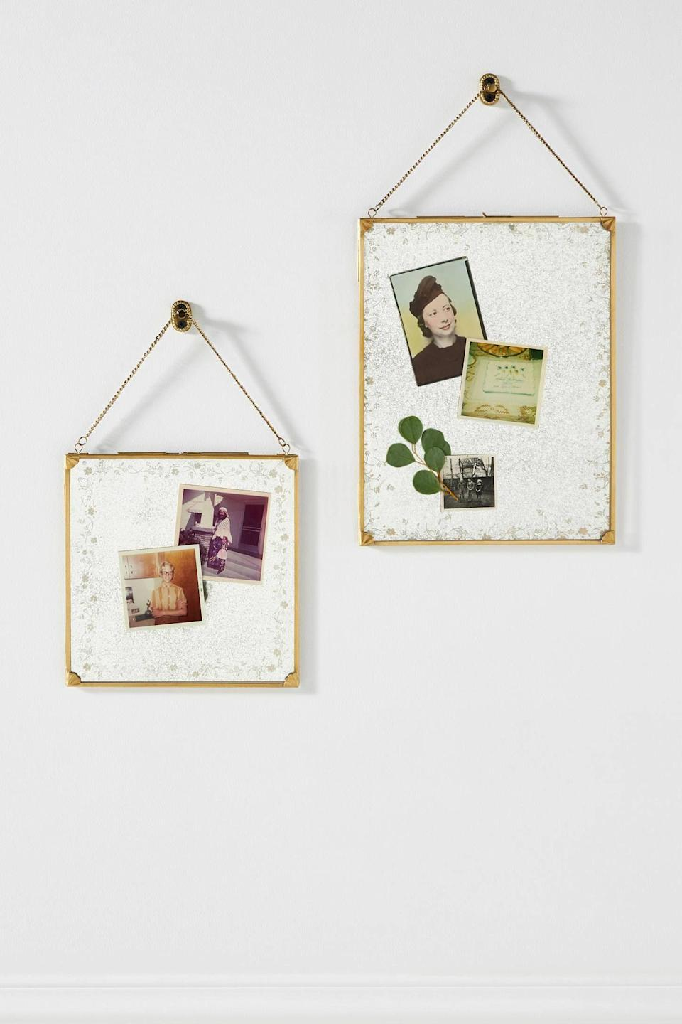 """<p><strong>Anthropologie</strong></p><p>anthropologie.com</p><p><strong>$60.00</strong></p><p><a href=""""https://go.redirectingat.com?id=74968X1596630&url=https%3A%2F%2Fwww.anthropologie.com%2Fshop%2Fmatilda-frame&sref=https%3A%2F%2Fwww.oprahdaily.com%2Flife%2Fg31400004%2Funique-mothers-day-gifts%2F"""" rel=""""nofollow noopener"""" target=""""_blank"""" data-ylk=""""slk:SHOP NOW"""" class=""""link rapid-noclick-resp"""">SHOP NOW</a></p><p>For a meaningful gift, fill these artful glass frames with special mementos—photos, letters, kids' drawings... anything that makes mom smile. </p>"""