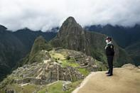 This officer from the tourism police will soon have visitors to watch over at the Inca stone citadel of Machu Picchu